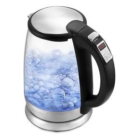 Чайник электрический Kitfort КТ-628, металл, 1.7 л, 2200 Вт, регулировка t°, серебристый