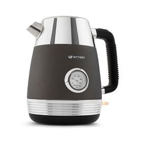 Чайник электрический Kitfort КТ-633-1, металл, 1.7 л, 2150 Вт, встроенный термометр, графит