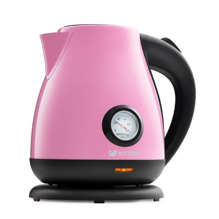 Чайник электрический Kitfort КТ-642-1, металл, 1.7 л, 2200 Вт, розовый