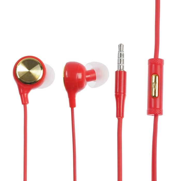 Наушники LuazON, вакуумные, микрофон, красные