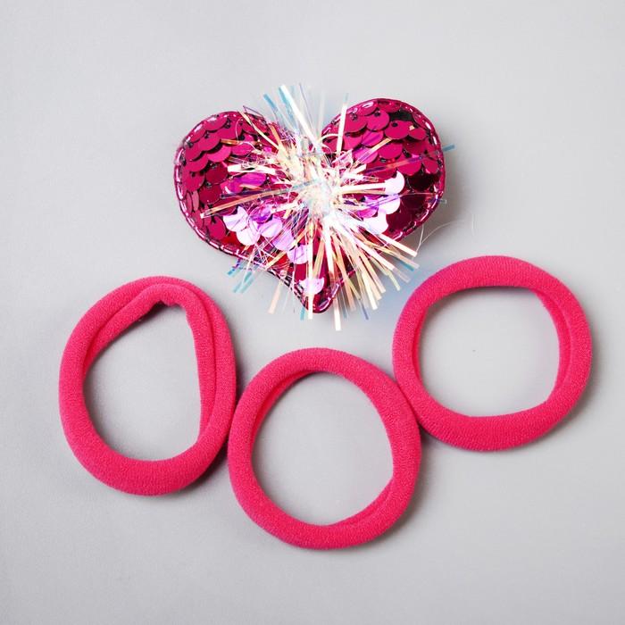 Набор для волос, Маша и Медведь, зажим-сердце, 4 резинки, 7,5х13,5 см