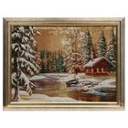 """E012-30x40 Painting of the tapestry """"the Hut in winter forest"""" (35x45)"""