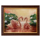 """M078-30x40 Painting of the tapestry """"Swans in a lush pond"""" (35x45)"""