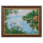 """W066-30x40 Painting of the tapestry """"the Swan family in the pond"""" (35x45)"""
