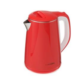 Чайник электрический LuazON LSK-1811, пластик, колба металл, 2.3 л, 2000 Вт, красный