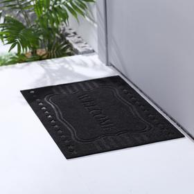 Коврик придверный без окантовки «Welcome звёздочки», 40×60 см, цвет чёрный