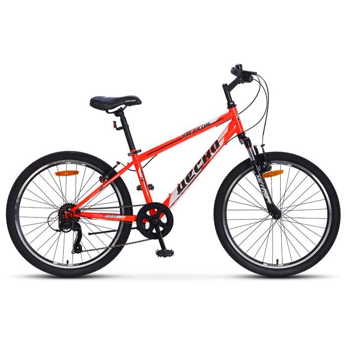 """Велосипед 24"""" Десна Метеор, V010, цвет серый/красный, размер 14"""""""