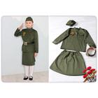 """Карнавальный костюм """"Солдатка"""", гимнастерка, юбка, ремень, пилотка, рост 128 см  СлдД-0006"""