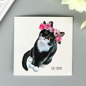 """Татуировка на тело цветная """"Котик в цветочном венке"""" 6х6 см"""