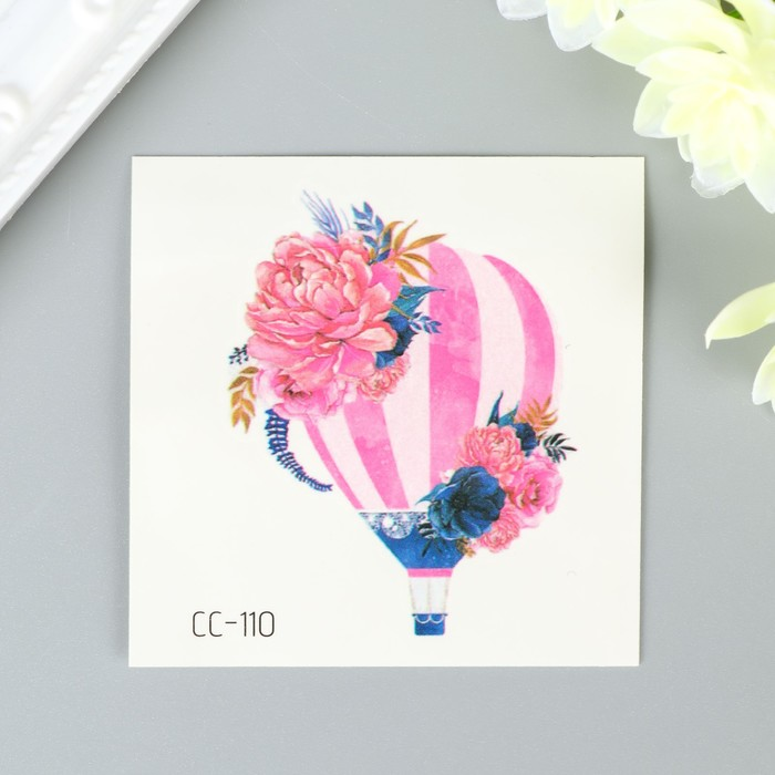 """Татуировка на тело цветная """"Воздушный шар с цветами"""" 6х6 см"""