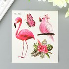 """The tattoo on the body colored """"Flamingos and cockatoos"""" 8х7,5 cm"""