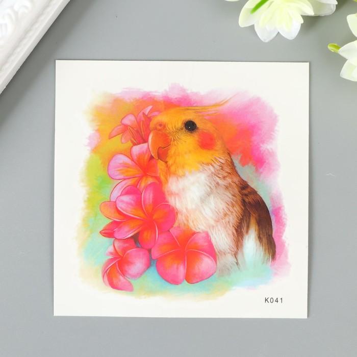 """Татуировка на тело цветная """"Попугай с цветами"""" 8х8 см"""