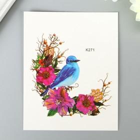 """Татуировка на тело цветная """"Птица в цветах"""" 10х8 см"""