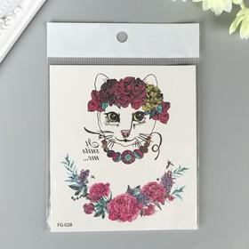 """Татуировка на тело цветная с блёстками """"Кошечка в цветочном венке"""" 12х10,5 см"""