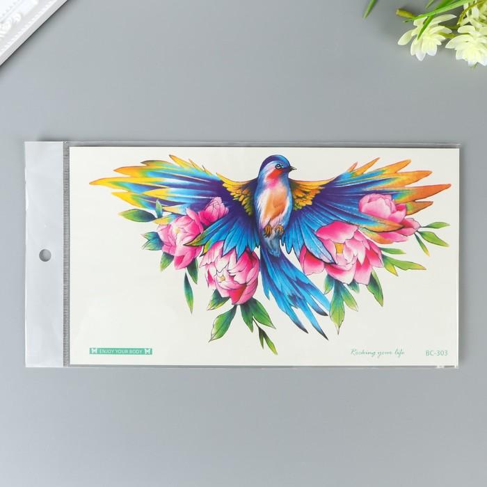 """Татуировка на тело цветная """"Красочная птица в цветах"""" 24х14 см"""