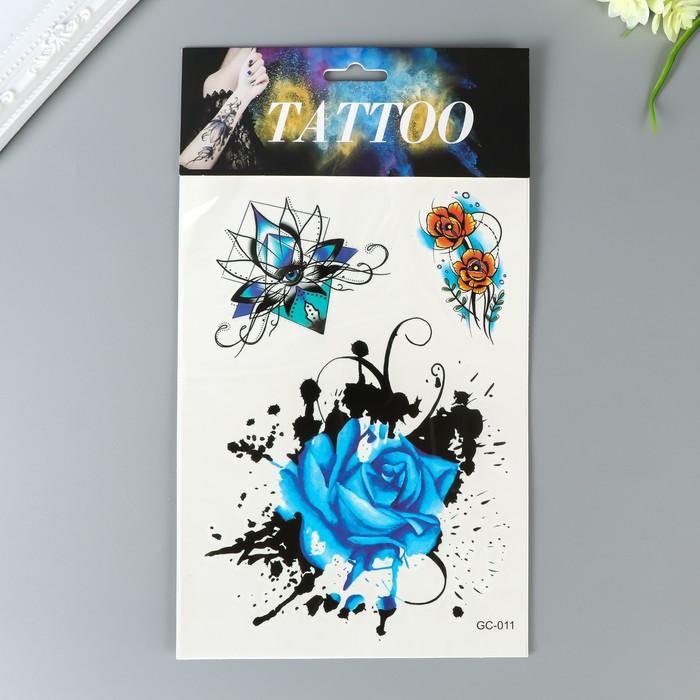 """Татуировка на тело цветная акварель """"Бабочки и цветы"""" МИКС 29х17 см"""