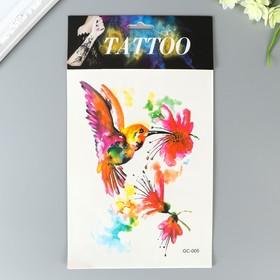 """Татуировка на тело цветная акварель """"Птицы"""" МИКС 29х17 см"""