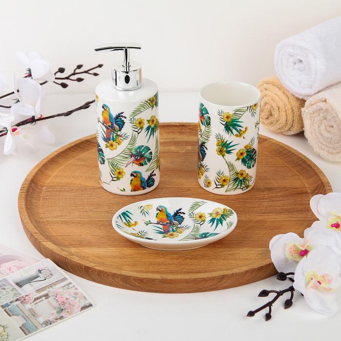 Набор аксессуаров для ванной комнаты Доляна «Попугай», 3 предмета (дозатор 350 мл, мыльница, стакан) - фото 798482535