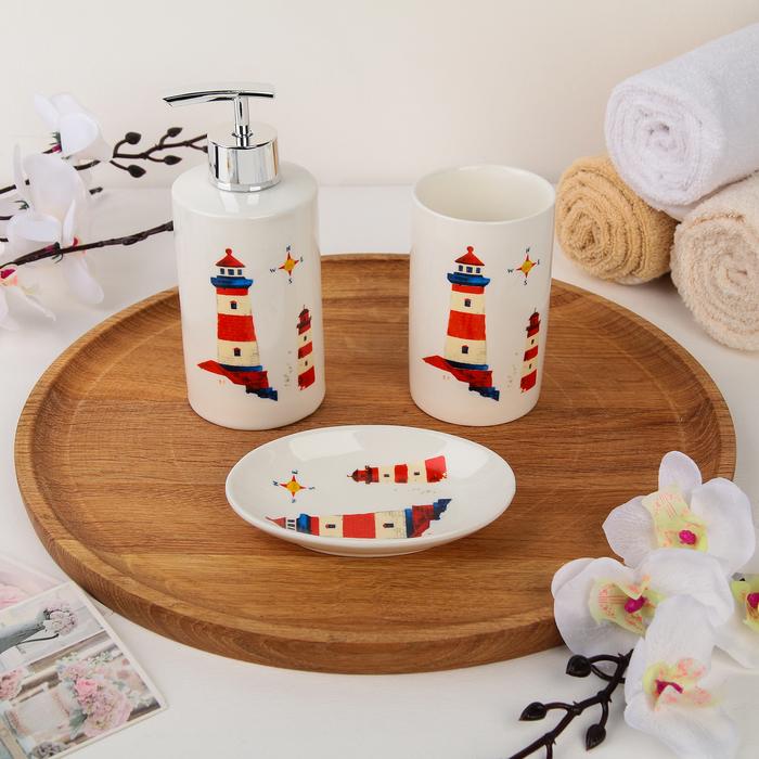 Набор аксессуаров для ванной комнаты Доляна «Маяк», 3 предмета (дозатор 300 мл, мыльница, стакан) - фото 798482545