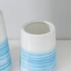 Набор аксессуаров для ванной комнаты «Акварель», 3 предмета (дозатор 300 мл, мыльница, стакан), цвет синий - фото 4649127