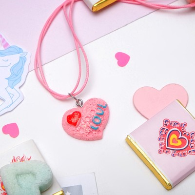 """Кулон детский """"Выбражулька"""" сердечко Love, цвет розовый"""