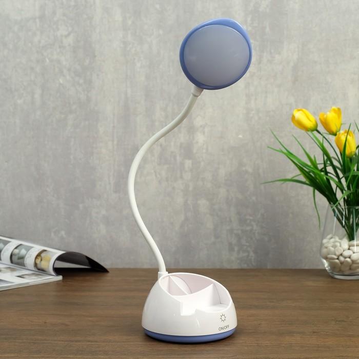 Лампа настольная сенсорная 23777/1 LED 8Вт USB АКБ белый-сиреневый 13х13х37 см - фото 798482826