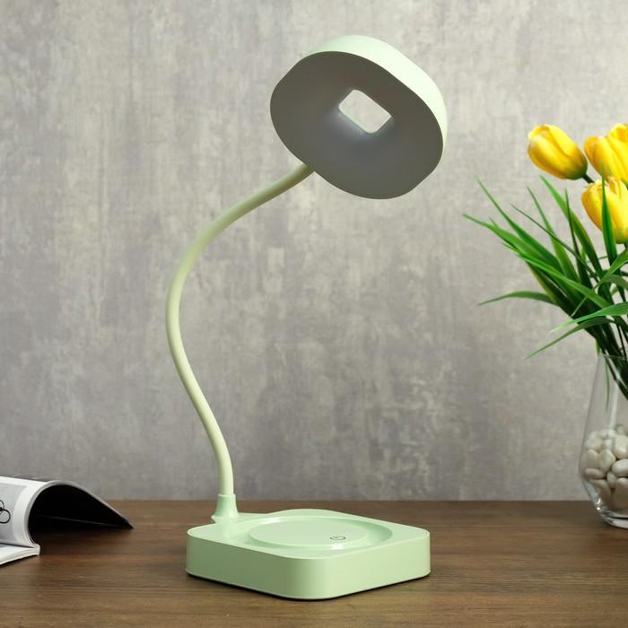 Лампа настольная сенсорная 85301/1 12хLED 3Вт диммер USB AKB светло-зеленый 11х12,8х35 см - фото 798482943