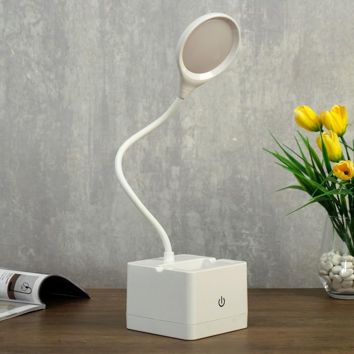 Лампа настольная сенсорная 85302/1 18хLED 3Вт диммер USB AKB белый 10х10,5х43 см - фото 798482951