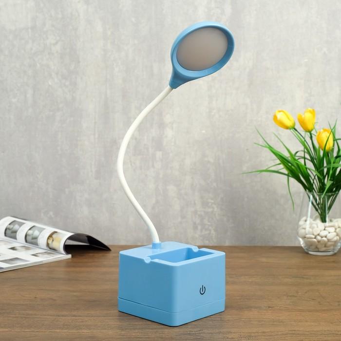 Лампа настольная сенсорная 85303/1 18хLED 3Вт диммер USB AKB синий 10х10,5х43 см - фото 798482957