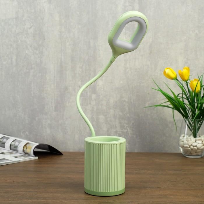 Лампа настольная сенсорная 85305/1 24хLED 3Вт 3 режима USB AKB зеленый 8,5х8,5х43 см - фото 798482971