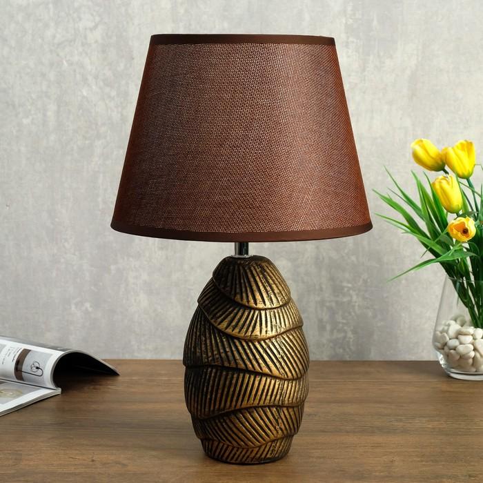 Лампа настольная 32170/1 E14 40Вт кофейный с золотой патиной 22х22х36 см - фото 7931465