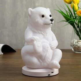 """Ночник c USB """"Медведь"""" LED RGB батарейки 3AAA белый 12x13xx19,5 см"""