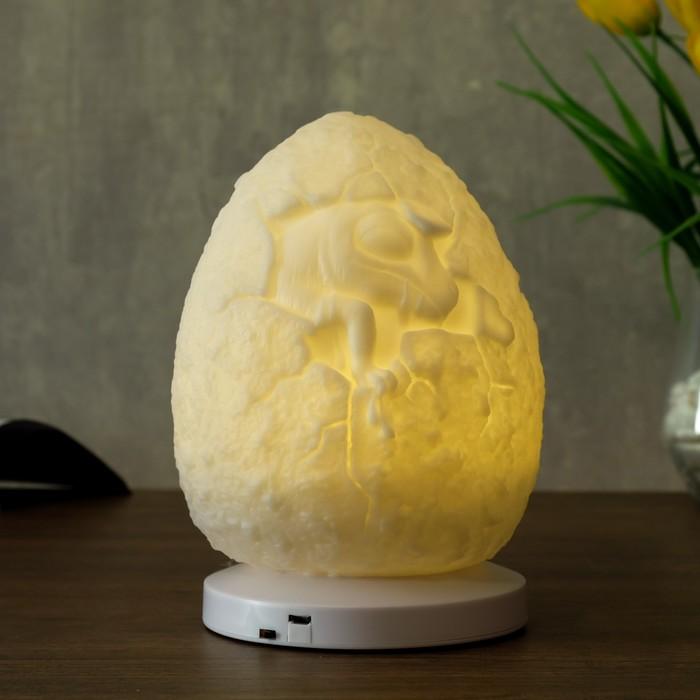 """Ночник c USB """"Яйцо с динозавриком"""" LED RGB батарейки 3AAA белый 11,5x11,5xx18 см - фото 798483110"""
