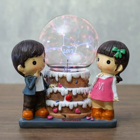 """Плазменный шар """"Девочка и мальчик"""" 18,5х10,5х16,5 см"""