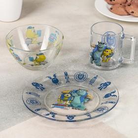 Набор посуды детский «Монстры», 3 предмета