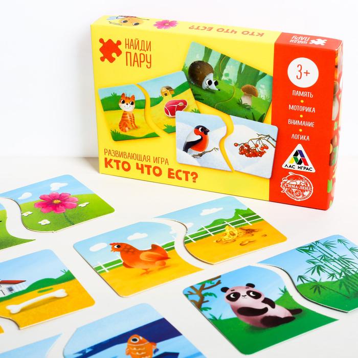 Развивающая игра-пазлы «Найди пару. Кто что ест?», 40 карточек