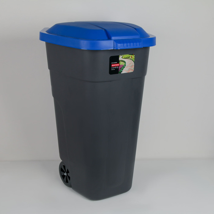 Бак для раздельного сбора мусора 110 л, с крышкой на колёсах, цвет синий