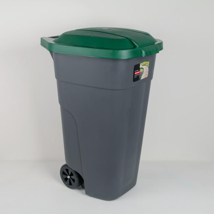 Бак для раздельного сбора мусора 110 л, с крышкой на колёсах, цвет зелёный