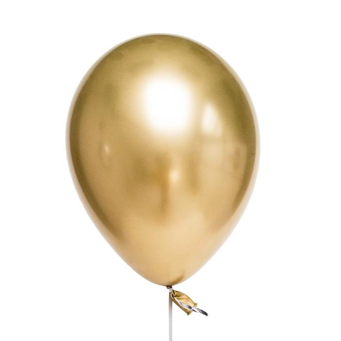 """Шар латексный 12"""", хром, набор 25 шт., цвет золотой - фото 953244"""