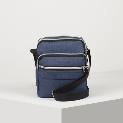 Bag husband Ruslan, 18*10*23, otd zipper, 2 n/ pockets, long strap, blue