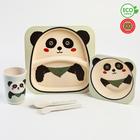 Набор бамбуковой посуды «Панда», 5 предметов: тарелка, миска, стакан, вилка, ложка - фото 488857