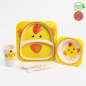 """A set of bamboo dishes """"Chicken"""", 5 pieces: plate, bowl, Cup, fork, spoon"""
