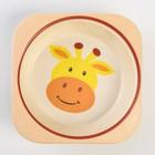 Набор бамбуковой посуды «Жираф», 5 предметов: тарелка, миска, стакан, вилка, ложка - фото 105459664