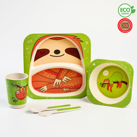 """A set of bamboo utensils """"sloth"""", 5 pieces: plate, bowl, Cup, fork, spoon"""