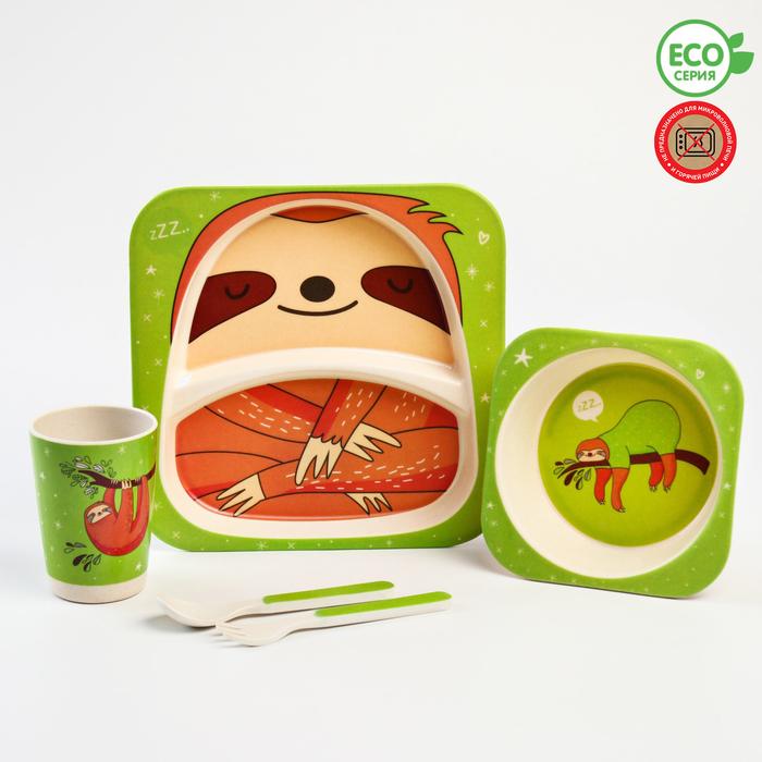 Набор бамбуковой посуды «Ленивец», 5 предметов: тарелка, миска, стакан, вилка, ложка - фото 798483660