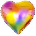 "Balloon foil 18"" heart ""Rainbow flare"" colored, gradient"