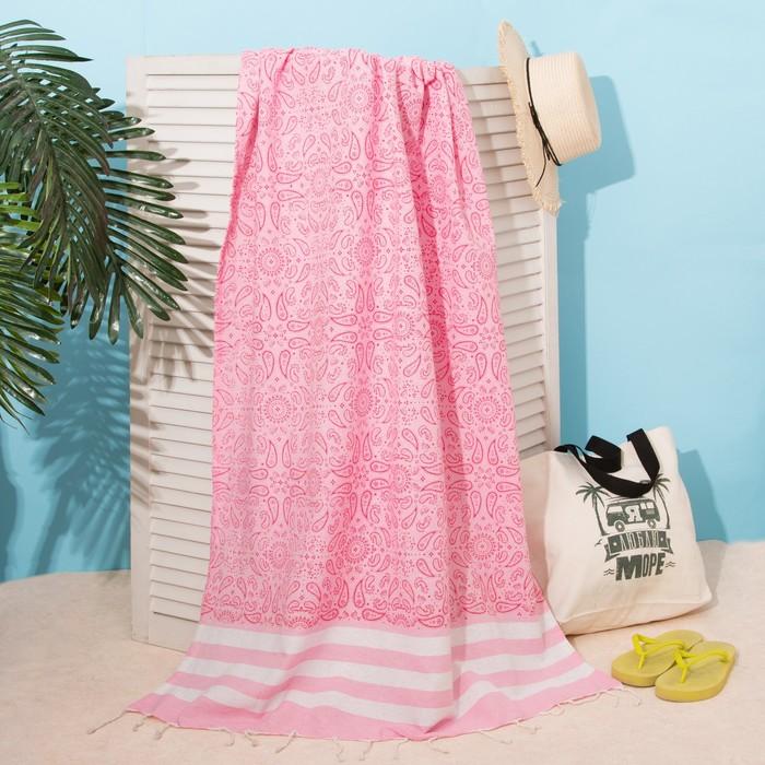 """Полотенце для ванны Пештемаль Этель """"Персия"""" 90х170см, 150г/м,80% хл, 20% п/э, розовый"""