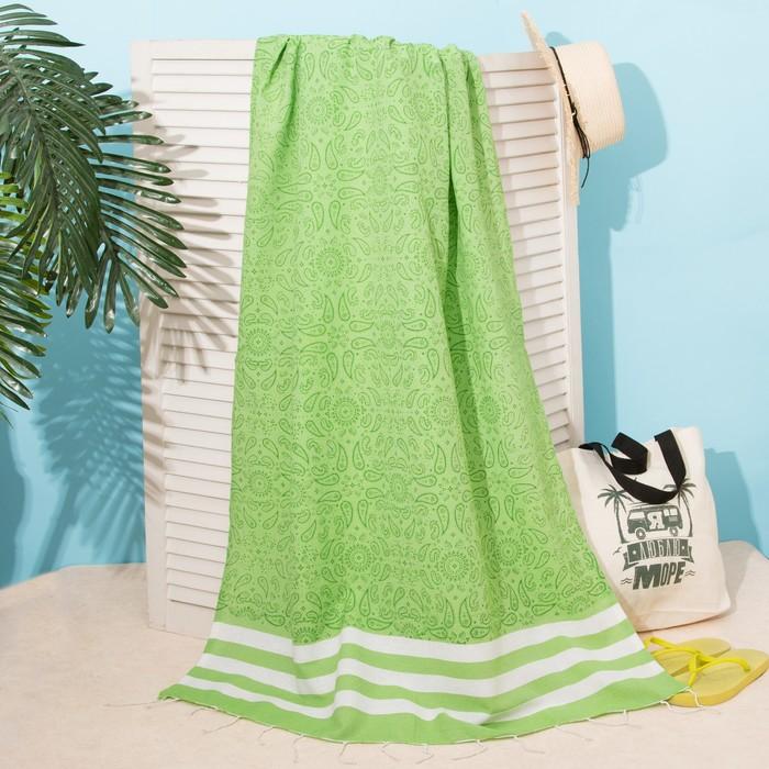 """Полотенце для ванны Пештемаль Этель """"Персия"""" 90х170см, 150г/м,80% хл, 20% п/э, зеленый"""