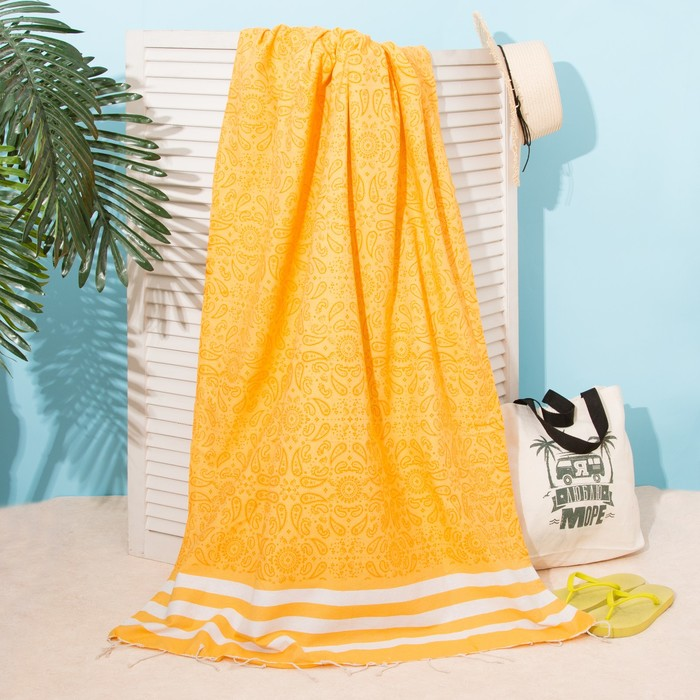 Полотенце для ванны Пештемаль Персия 90х170см, 150г/м,80% хл, 20% п/э, Желтый
