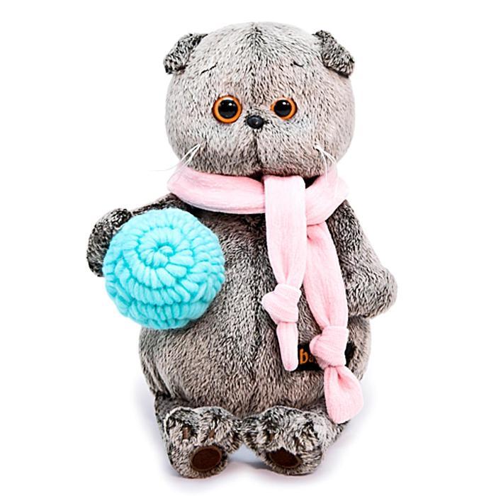 Мягкая игрушка «Басик» в шарфике и с клубком, 19 см - фото 4467866